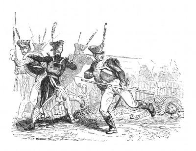 Взяв Вену 13 октября 1805 г., французы сражаются против русско-австрийской армии. 14-15 октября 1805 г. войска под командованием Мюрата и Ланна преследуют и громят противника, отступающего в Моравию. Histoire de l'empereur Napoléon. Париж, 1840