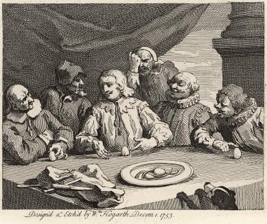 Колумб, разбивающий яйцо, 1753. Билет на оплату гравюр «Анализ красоты». Выбрав для сюжета притчу о Колумбовом яйце (речь идет о простом, но неординарном решении сложной задачи), Хогарт намекает на свой трактат «Анализ красоты». Лондон, 1838