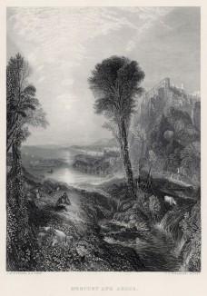 """Гермес и Аргус (лист из альбома """"Галерея Тёрнера"""", изданного в Нью-Йорке в 1875 году)"""