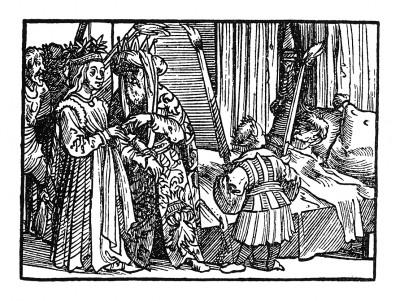 Свадебный ритуал. Иллюстрация Йорга Бреу Старшего к описанию путешествия на восток Лодовико ди Вартема: Ludovico Vartoman / Die Ritterliche Reise. Издал Johann Miller, Аугсбург, 1515