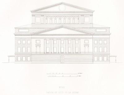 План VIII. Задний фасад (из редкого альбома литографий Reconstruction du Grand Théâtre de Moscou dit Petrovski, посвящённого открытию Большого театра после реконструкции 20 августа 1856 года и коронации императора Александра II. Париж. 1859 год)