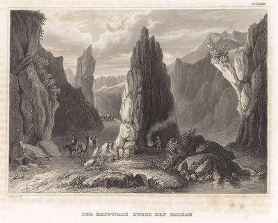 Шипкинский перевал -- горный перевал в Болгарии через Балканы. Meyer's Universum, Oder, Abbildung Und Beschreibung Des Sehenswerthesten Und Merkwurdigsten Der Natur Und Kunst Auf Der Ganzen Erde, Хильдбургхаузен, 1840 год.