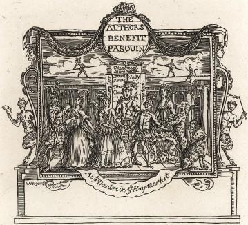 Входной билет на постановку пьесы Генри Филдинга «Пасквино» (1736) в королевском театре «Хей-Маркет» (Hay-Market). Изображены семь действующих лиц, а также собака, кошка и два черта; на заднике - канатоходцы в компании бесенка. Лондон, 1838