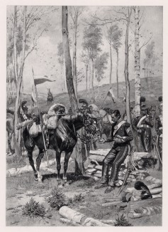 """Привал гвардейских улан 5 полка Великой армии в 1813 году. Илл. к известной работе """"Кавалерия Наполеона"""", Париж, 1895"""