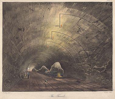 """Постройка тоннеля для железнодорожного сообщения между Ливерпулем и Манчестером. Лист из серии """"Coloured Views on the Liverpool and Manchester Railway"""", Лондон, 1833"""