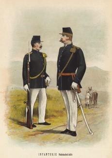Солдат и офицер колониальных войск голландской Индии (иллюстрация к работе Onze krijgsmacht met bijshriften... (голл.), изданной в Гааге в 1886 году)