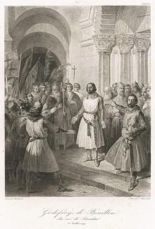 22 июля 1099 г. Первый крестовый поход. Готфрид Бульонский (1060-1100) после захвата Иерусалима восходит на престол Иерусалимского королевства и получает титул Защитника Гроба Господня.