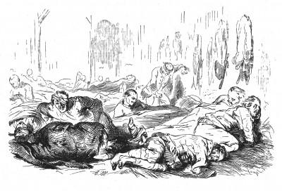 Семилетняя война 1756-1763 гг. Раненные в битве под Прагой 6 мая 1757 года. Илл. Адольфа Менцеля. Geschichte Friedrichs des Grossen von Franz Kugler. Лейпциг, 1842, с.319