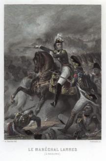 Жан Ланн (1769-1809) - сын конюха, лучший друг Наполеона, маршал Франции (1804), герцог де Монтебелло и кавалер русского ордена Святого Андрея Первозванного (1808) - возглавляет атаку гренадер в сражении при Асперн-Эсслинге 21 мая 1809 года