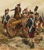 Война за независимость США 1775—1783 гг. Артиллерия в одном из сражений войны за независимость (лист 5 серии хромолитографий XIX века, посвящённых военной форме. Изд. в Нью-Йорке силами генерал-квартирмейстера армии США)