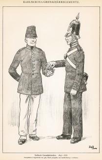 Солдаты гренадерского батальона Småland в униформе образца 1845-58 гг. Svenska arméns munderingar 1680-1905. Стокгольм, 1911