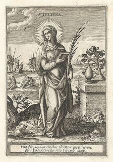 """Святая Иустина. Лист к серии гравюр """"Мартиролог святых дев"""" (Martyrologium Sanctarum Virginum), Париж, ок. 1600 г."""