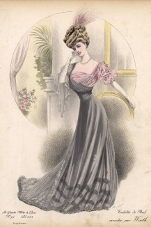 Серебристое бальное платье из бархата, украшенное бутонами роз. Автор - госпожа Уорт (Les grandes modes de Paris за 1907 год).