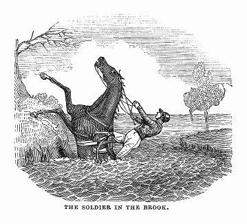 Участник стипл-чейза -- вида скачек по пересечённой местности до заранее условленного пункта, проводимых в графстве Нортгемптоншир, чья лошадь встала на дыбы, испугавшись переправы через ручей (The Illustrated London News №101 от 06/04/1844 г.)