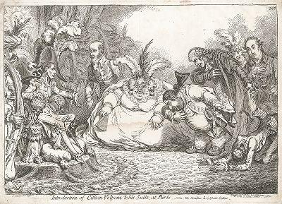 Гражданин Вольпоне и его свита в Париже: Наполеон Бонапарт принимает поклонение Чарльза Джеймса Фокса и членов его партии. Карикатура Джеймса Гилрея.