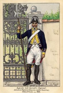 1803 г. Унтер-офицер лейб-гренадерского полка Великого герцогства Баден. Коллекция Роберта фон Арнольди. Германия, 1911-29