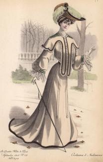 Осенний костюм цвета беж с меховой оторочкой и бархатными вставками. Шляпа со страусиными перьями. Les grandes modes de Paris, сентябрь 1903 г.