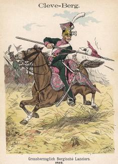Униформа уланов великого герцогства Клеве-Берг образца 1812 г. Uniformenkunde Рихарда Кнотеля, часть 2, л.44. Ратенау (Германия), 1891