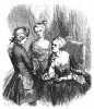 Мать Фридриха Великого, королева Пруссии София Доротея Ганноверская (1687-1757) (справа), с юным кронпринцем Фридрихом и его любимой сестрой, принцессой Вильгельминой. Geschichte Friedrichs des Grossen von Franz Kugler. Лейпциг, 1842, с.39