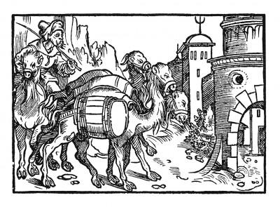 Прибытие в Мекку. Иллюстрация Йорга Бреу Старшего к описанию путешествия на восток Лодовико ди Вартема: Ludovico Vartoman / Die Ritterliche Reise. Издал Johann Miller, Аугсбург, 1515