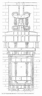 Поперечный разрез металлической тубы и подъёмного механизма железнодорожного моста через реку Конвей в Уэльсе, построенного в 1848 году британским инженером Робертом Стивенсоном (1803 -- 1859) (The Illustrated London News №307 от 11/03/1848 г.)