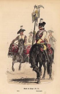 """Прусские конногвардейцы (иллюстрация Адольфа Менцеля к известной работе Эдуарда Ланге """"Солдаты Фридриха Великого"""", изданной в Лейпциге в 1853 году)"""