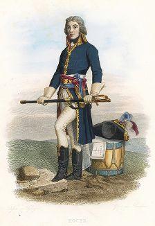 Луи-Лазар Гош (1768-1797) - французский генерал. Лист из серии Le Plutarque francais..., Париж, 1844-47 гг.