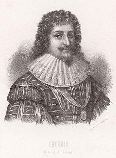 Тридцатилетняя война. Фридрих V (26 августа 1596 -- 29 ноября 1632) -- курфюрст Пфальцский (1610—23), король Чехии (1619—20), имперским эдиктом был лишен владений и титула (1623). Trettio-ariga krigets markvardigaste personer. Стокгольм, 1861