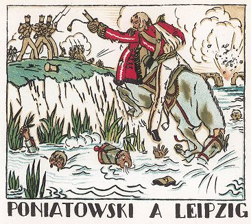 Юзеф Понятовский в битве под Лейпцигом. Pictorial History of Napoleon by Andre Collot, 1930.