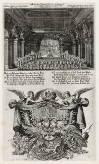 1. Ангелы поют в Иерусалимском храме 2. Борьба ангела и демона (из Biblisches Engel- und Kunstwerk -- шедевра германского барокко. Гравировал неподражаемый Иоганн Ульрих Краусс в Аугсбурге в 1694 году)