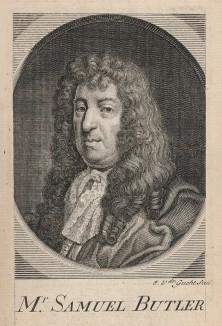 Сэмюэль Батлер (1612-1680), английский писатель-сатирик. Изобличал ханжество пуритан эпохи Английской революции XVII в. Фронтиспис к поэме «Гудибрас». Илл. Вильяма Хогарта. Лондон, 1732