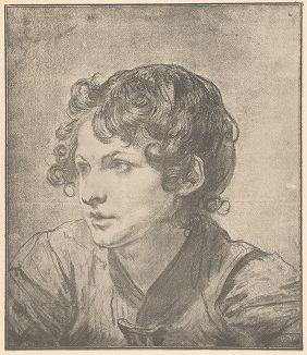 Портрет мальчика. Рисунок Жана-Батиста Грёза из собрания библиотеки Императорской Академии художеств.