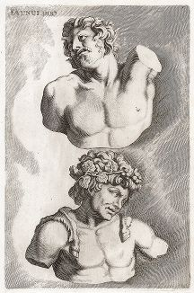 Бюсты двух фавнов. Лист из Sculpturae veteris admiranda ... Иоахима фон Зандрарта, Нюрнберг, 1680 год.
