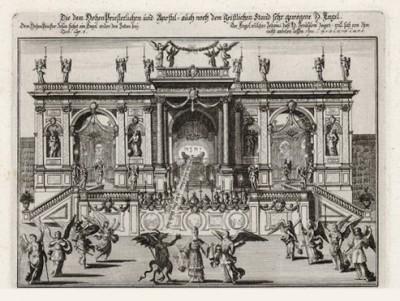 Имя Бога изгоняет сатану (из Biblisches Engel- und Kunstwerk -- шедевра германского барокко. Гравировал неподражаемый Иоганн Ульрих Краусс в Аугсбурге в 1694 году)