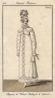 """Белое кашемировое пальто """"снегурочка"""" с кружевным воротником. Шляпка из бархата с цветами. Из первого французского журнала мод эпохи ампир Journal des dames et des modes, Париж, 1813 год. Модель № 1297"""