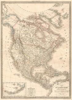 Карта Северной и Центральной Америки в 1842 году. Atlas universel de geographie ancienne et moderne..., л.42. Париж, 1842