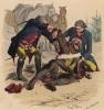 """Прусские военные медики помогают раненому (иллюстрация Адольфа Менцеля к известной работе Эдуарда Ланге """"Солдаты Фридриха Великого"""", изданной в Лейпциге в 1853 году)"""