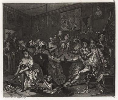 Карьера мота, гравюра III. «Сцена в таверне», 1735. Молодой богатый наследник проматывает свое состояние в кутежах с проститутками. Геттинген, 1854