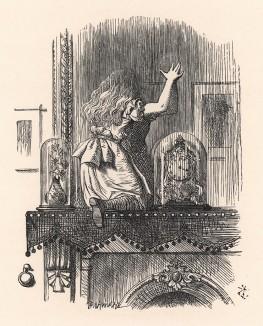 Зеркало стало таять, словно серебристый туман поутру  (иллюстрация Джона Тенниела к книге Льюиса Кэрролла «Алиса в Зазеркалье», выпущенной в Лондоне в 1870 году)
