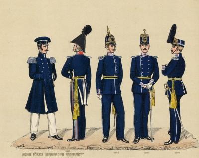 Мундиры королевского лейб-гренадерского полка шведской армии в 1816, 1845, 1860 и 1872 гг.