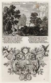 1. Дьявол искушает Иисуса в пустыне 2. Авраам приносит своего сына Исаака в жертву Богу (из Biblisches Engel- und Kunstwerk -- шедевра германского барокко. Гравировал неподражаемый Иоганн Ульрих Краусс в Аугсбурге в 1694 году)