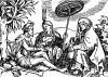 Жители Калькутты. Иллюстрация Йорга Бреу Старшего к описанию путешествия на восток Лодовико ди Вартема: Ludovico Vartoman / Die Ritterliche Reise. Издал Johann Miller, Аугсбург, 1515