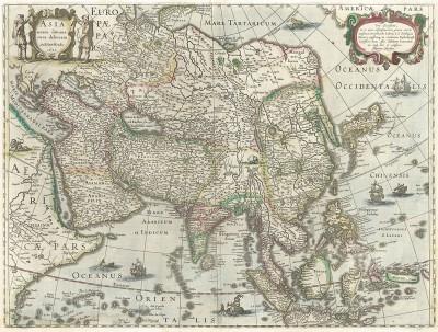 Карта Азии, включающая Корею и Японию. Asia recens summa cura delineata. Составил Хенрикус Хондиус. Амстердам, 1631
