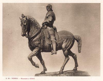 Памятник кондотьеру Бартоломео Коллеони работы Вероккио. Ricordo Di Venezia, 1913 год.