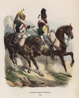 1809 год. Французские драгуны (справа -- драгун из сапёрной роты) (из популярной работы Histoire de l'empereur Napoléon (фр.), изданной в Париже в 1840 году с иллюстрациями Ораса Верне и Ипполита Белланжа)