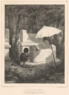 Резчик по камню на караимском кладбище в Чуфут-Кале 18 августа 1837 года (из Voyage dans la Russie Méridionale et la Crimée... Париж. 1848 год (лист 43))