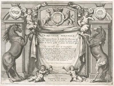 Титульный лист первого (1658 год) издания бестселлера XVII века La Méthode Nouvelle et Invention extraordinaire de dresser les Chevaux... герцога Ньюкасла (опубликовано в Антверпене)