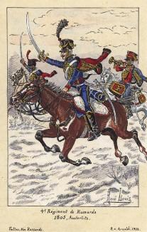 1805 г. Атака французских гусар 4-го полка Великой армии в битве под Аустерлицем. Коллекция Роберта фон Арнольди. Германия, 1911-29