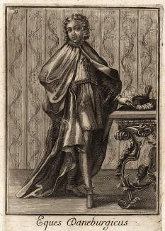 Рыцарь ордена Данеброг (королевство Дания). Учреждён в 1239 г. королём Вальдемаром II, получил название от красного флага (brog – флаг). Catalogo degli ordini equestri, e militari еsposto in imagini, e con breve racconto. Рим, 1741