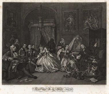 Модный брак, гравюра 4. «Будуар графини», 1745. Продолжение печальной истории о браке по расчету. Женившись ради выгоды родителей, молодые супруги не скрывают безразличия друг к другу. У каждого свои развлечения и свои собеседники. Геттинген, 1854